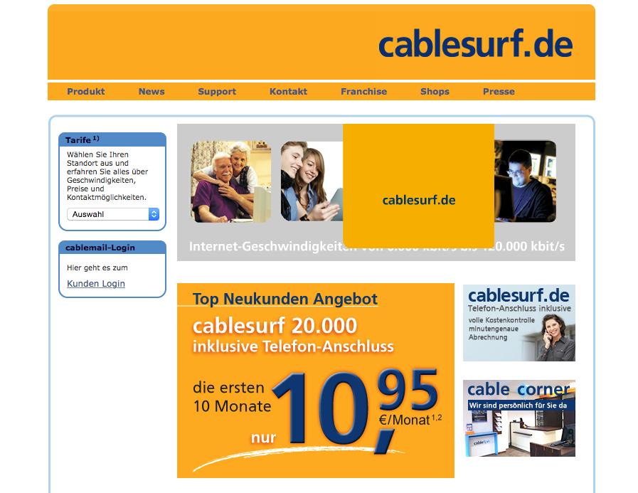 """Screenshot www.cabelsurf.de - schaut nach, ob auch ihr das """"günstige"""" Internet nutzen könnt. Mittlerweile gibt es cabelsurf in rund 50 Städten!"""
