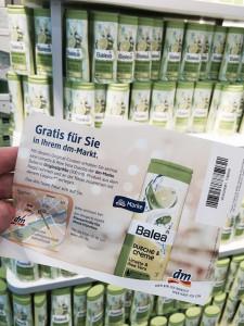 Bitte den Prozente-Flyer (Vorderseite) nicht gleich wegwerfen - es enthält einen Gutschein für ein Balea-Duschgel in Normalgröße. (Foto: Winderl)