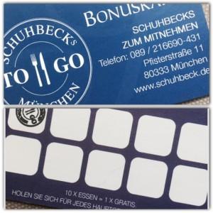 """Sogar eine Bonuskarte gibt es im """"Schuhbecks to go"""". Auch hier sieht man die Qualität: Die Karte ist aus festem Karton; auf der Rückseite befindet sich der Platz für die Stempel - jedes 11. Essen ist gratis. (Foto: Winderl)"""