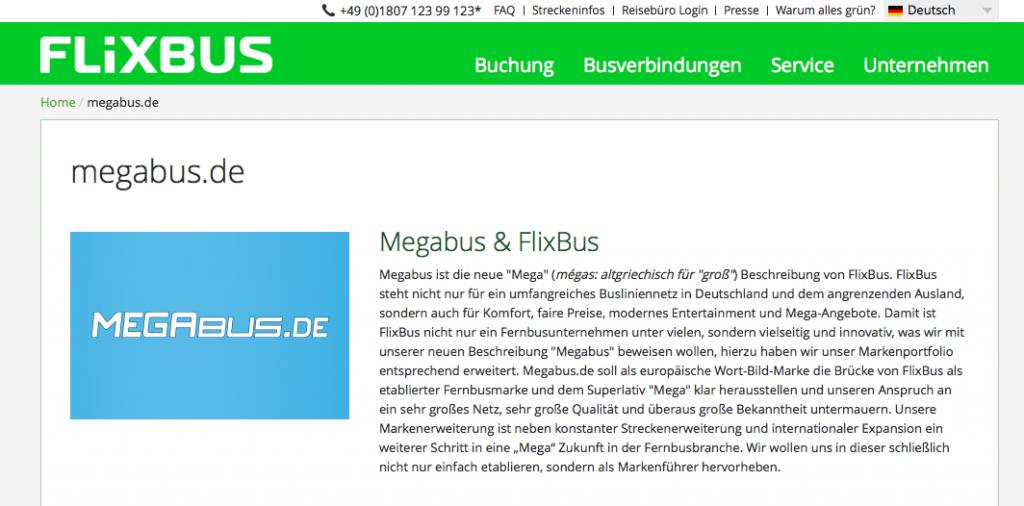 """Peinlich! Megabus hat versäumt sich rechtzeitig die Domain megabus.de zu sichern. Diese hat nun Konkurrent FlixBus und wirbt dort für sich als """"megagutes"""" Unternehmen. (Foto: Screenshot)"""