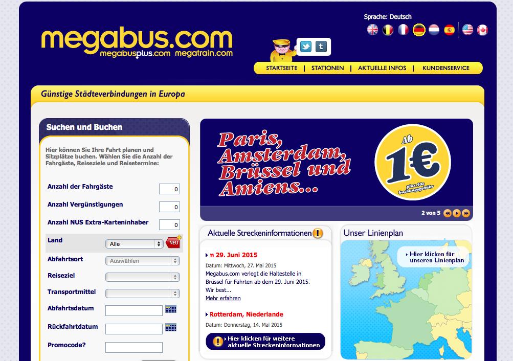Nur auf megabus.com gibt es Fernbus-Verbindungen zum Mega-Schnäppchenpreis ab 1 Euro. (Screenshot: megabus.com)