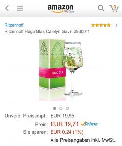 """Nur das Design ist für die Real-Treuepunkte-Aktion etwas anders; der """"Wert"""" bleibt gleich: Zwei Hugo-Gläser kosten bei real derzeit 10 Euro. (Foto: Screenshot)"""