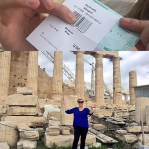 Für 0 Euro auf die Akropolis - da freut sich die ISARSPARERIN (Collage: Winderl)