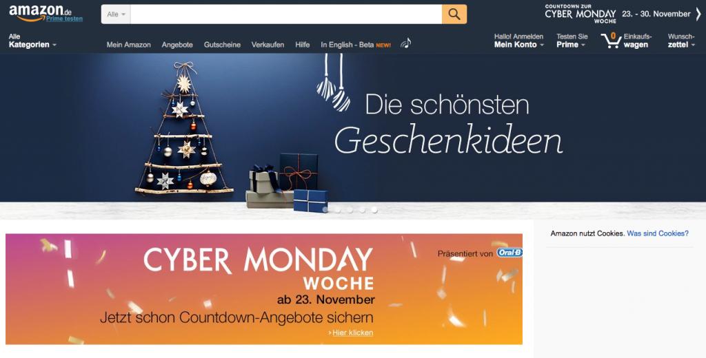 Screenshot amazon Cyber Monday