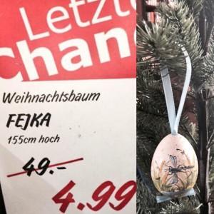 Richtig sparen kann man mit antizyklischem Kaufverhalten - meinen künstlichen Christbaum habe ich daher heuer an Ostern(!) beim Möbelschweden gekauft (Foto: Winderl)